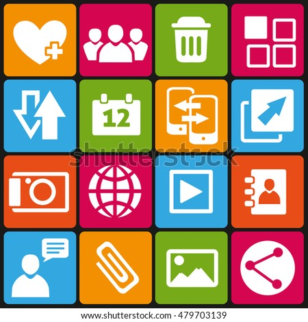 Set of 16 web and social media icons.