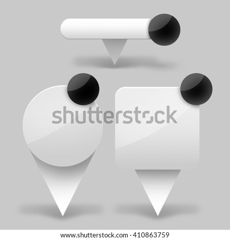 Set of web component - pin - sticker - icon in the grey background - stock photo