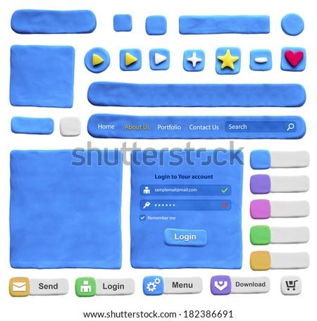 Set of web design elements from plasticine. Isolated on white - stock photo