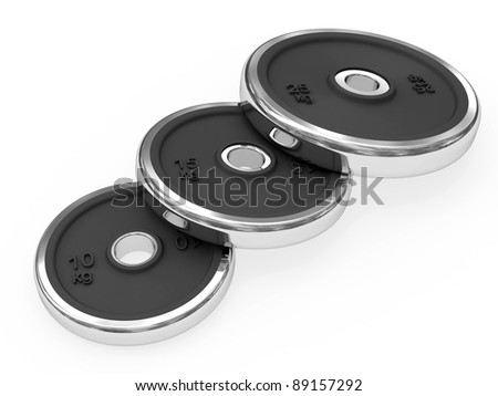 Set of weights disposed by diagonal rendered with soft shadows on white background