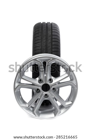 Set of wheels and tires for the car. Isolate on white. - stock photo