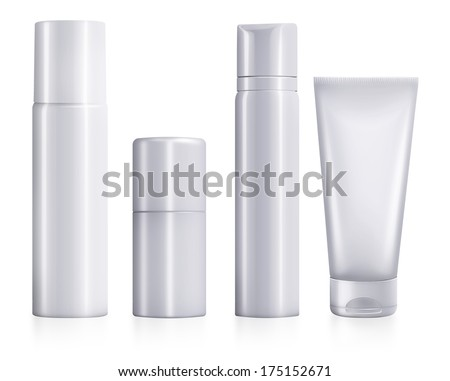 Set of While Cosmetic Packaging