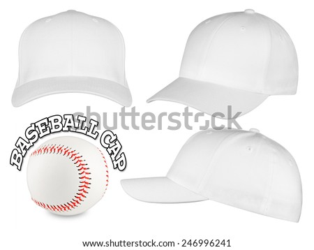 Set of white baseball caps with baseball - stock photo