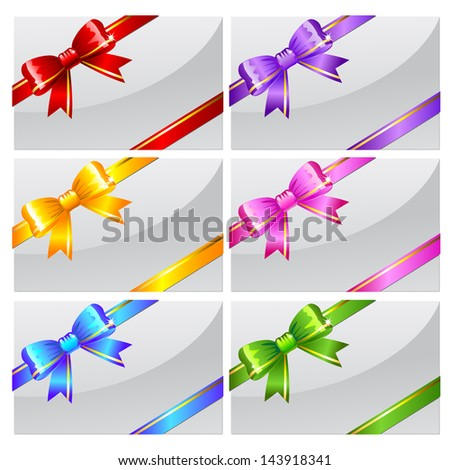 Set of white cards or envelops with bows. Raster version. Vector is also available in my gallery - stock photo