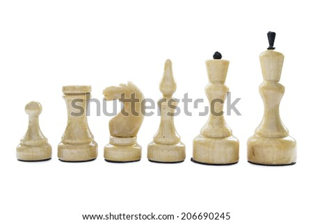Set of white chess pieces isolated over white - stock photo