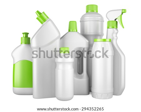 Set of white clean bottles with detergents. 3d image isolated on a white background. - stock photo