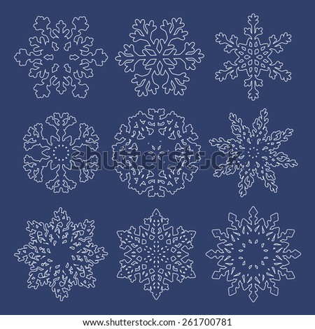 Set of  white contour snowflakes isolated on blue background. Raster version of the illustration. - stock photo