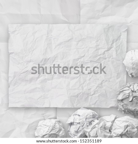 set of white crumpled paper background texture in composition - stock photo