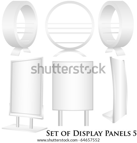 Set of 6 white display pannels - stock photo