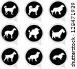 Set Of White Dog on Black Icons Isolated on White Background - stock