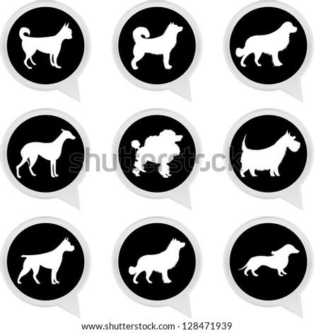 Set Of White Dog on Black Icons Isolated on White Background - stock photo
