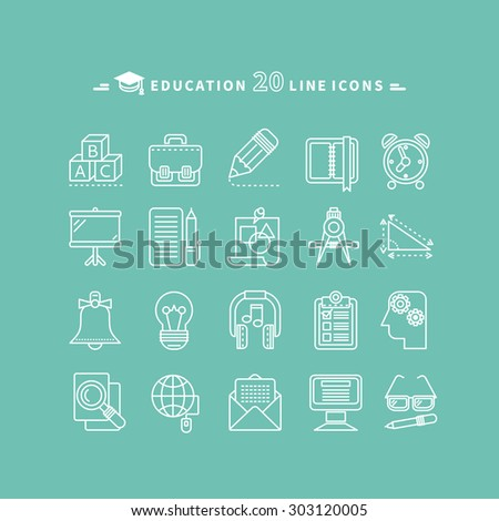 Set of white education thin, lines, outline icons. Items for study alphabet, pencil, headphones, bag, computer, glasses on green background. For web and mobile applications. Raster version - stock photo