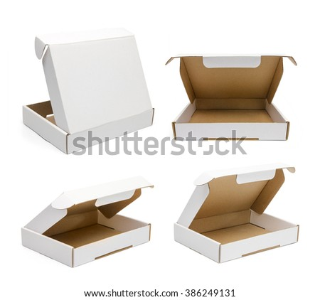 Set of white flat boxes isolated on white background. Mockup for designer - stock photo