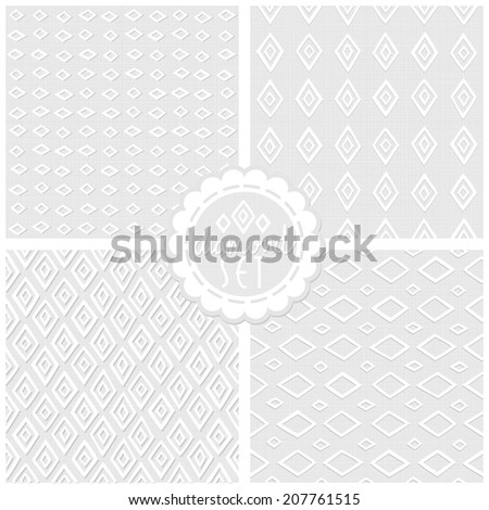 Set of white gray monochrome vector backgrounds with diamonds and round sticker raster version
