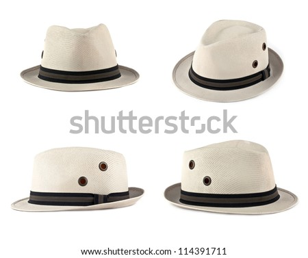 Set of white hats