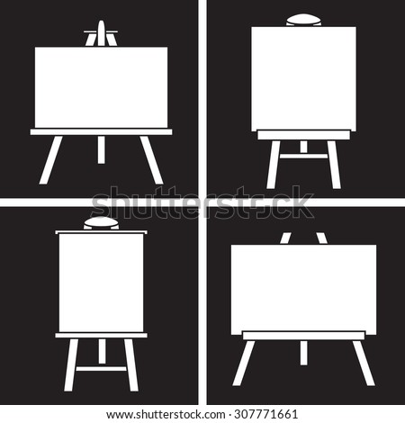 Set of white icons easels on a black background