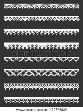 Set of white lace borders isolated on gray background