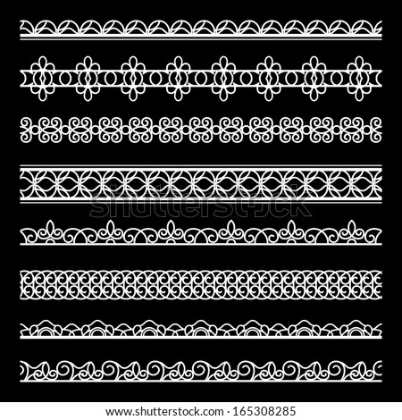 Set of white lace raster borders isolated on black