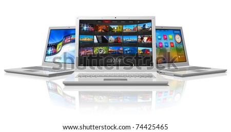 Set of white laptops - stock photo
