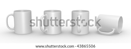 Set of white mugs in various viewing perspectives. 3D rendered illustration. - stock photo