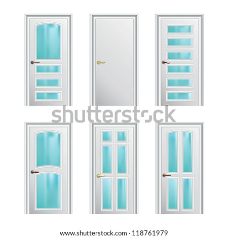 Set of 6 white painted profiled doors with glass insertions. Raster version of the vector image - stock photo
