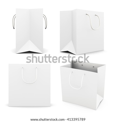 Set of white paper bag isolated on white background. Front view. Side view. Bag for purchase. Paper white bag for your design 3d render image - stock photo