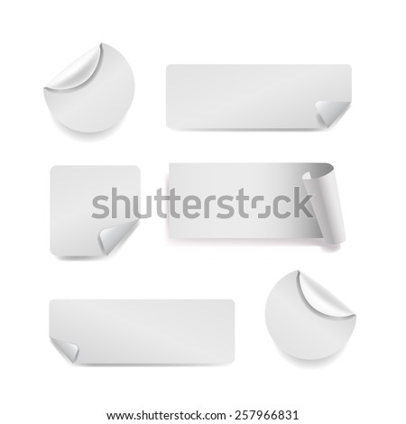 Set of white paper stickers on white background. Round, square, rectangular - stock photo
