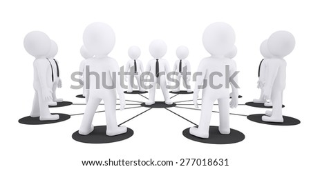 Set of white puppet people on isolated white background