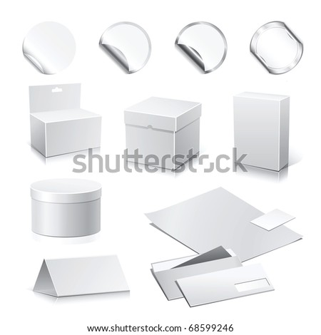 Set of white raster paper - packaging and stationery elements. ( Vector - 65030824 ) - stock photo