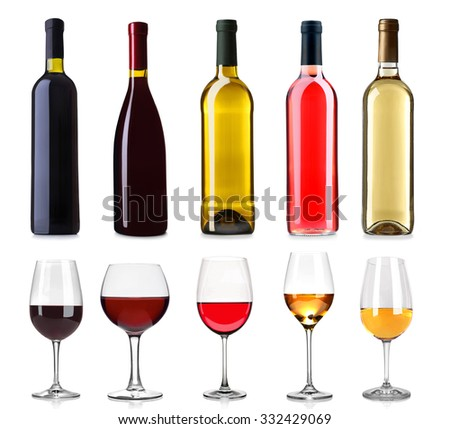Set of white, rose, and red wine bottles and glasses, isolated on white - stock photo
