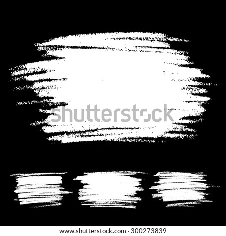 Set of White Scribble Stains Hand drawn in Pencil - stock photo