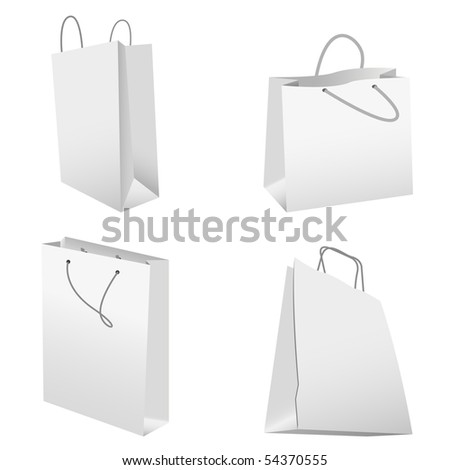 set of white shopping bags
