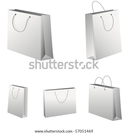 Set of white shopping bags. Vector version in my gallery.