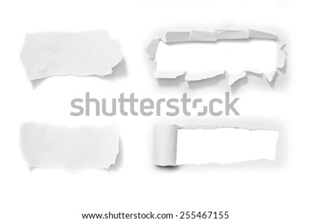 Set of white torn paper isolated over white background - stock photo