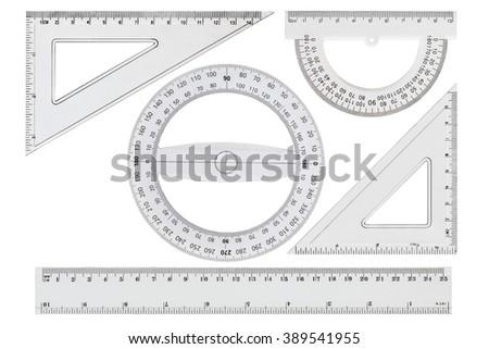 Set of white transparent rulers, isolated on white background - stock photo