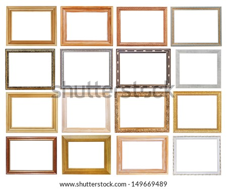 set of wide picture frames with cutout canvas isolated on white background - stock photo