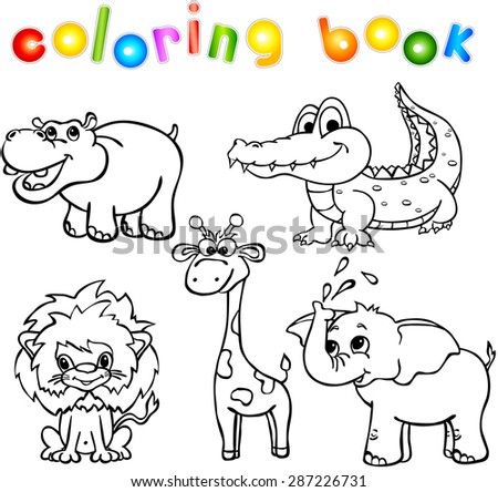 Set Of Wild Animals First Coloring Book For Children
