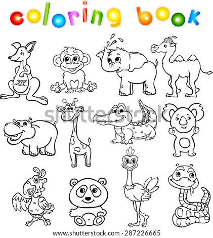 Set of wild animals third for children. Coloring book - stock photo