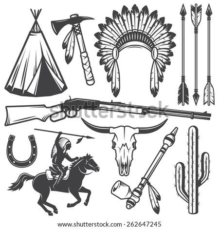 Set of wild west american indian designed elements. Monochrome style - stock photo