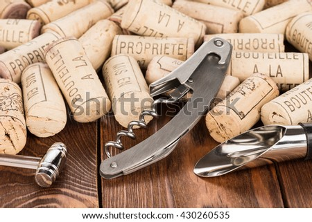 Set of wine accessories with corks  - stock photo