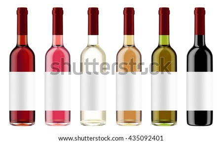 Set of wine bottles with red caps isolated on white background. Bottles with a label. 3D Mock up for your design. - stock photo