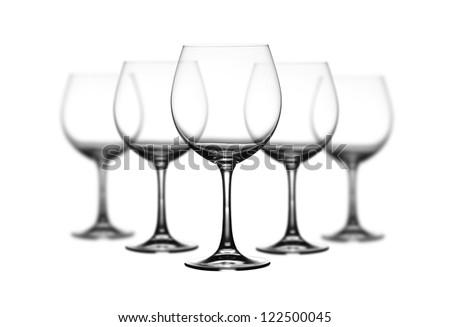 Set of wine glasses on white background - stock photo