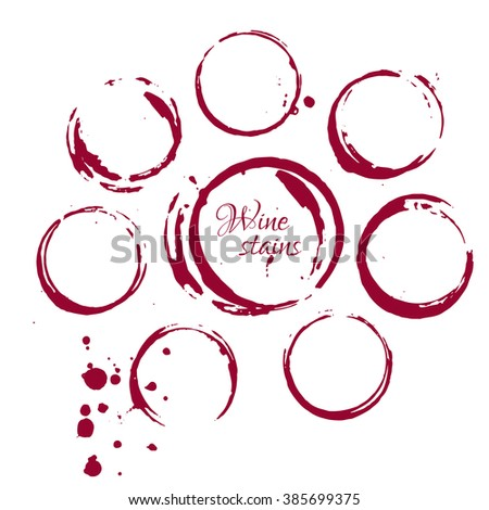 Set of wine stains isolated on white background