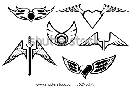 Set of wing symbols for tattoo template. Vector version also available in gallery - stock photo