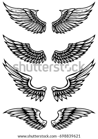Set of wings illustration isolated on white background. Design elements for logo, label, emblem, sign.