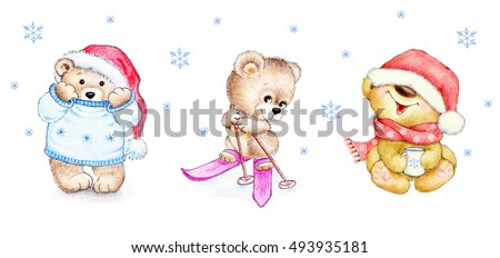 Set of winter Teddy bears