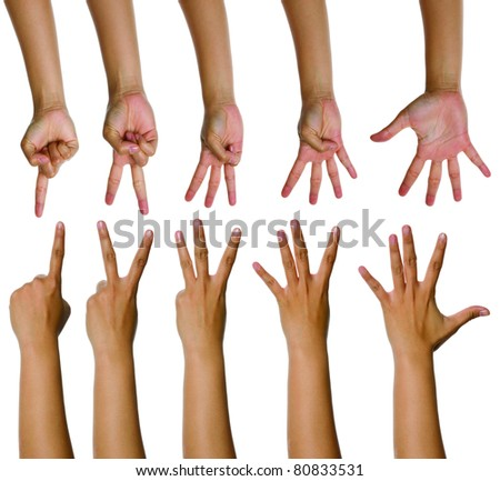 Set of woman counting hands isolated over white background - stock photo