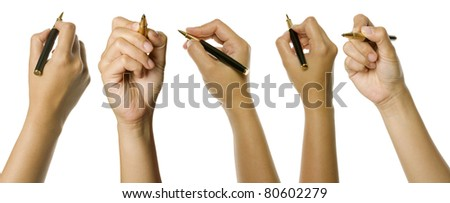 Set of woman hands holding pen isolated over white background. Good for your design - stock photo
