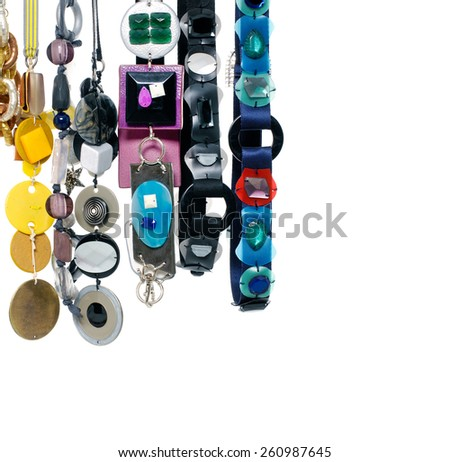 Set of woman many belts and flower made of silk and satin dangle - stock photo