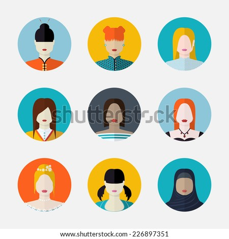 set  of women avatars  in flat style different nationalities